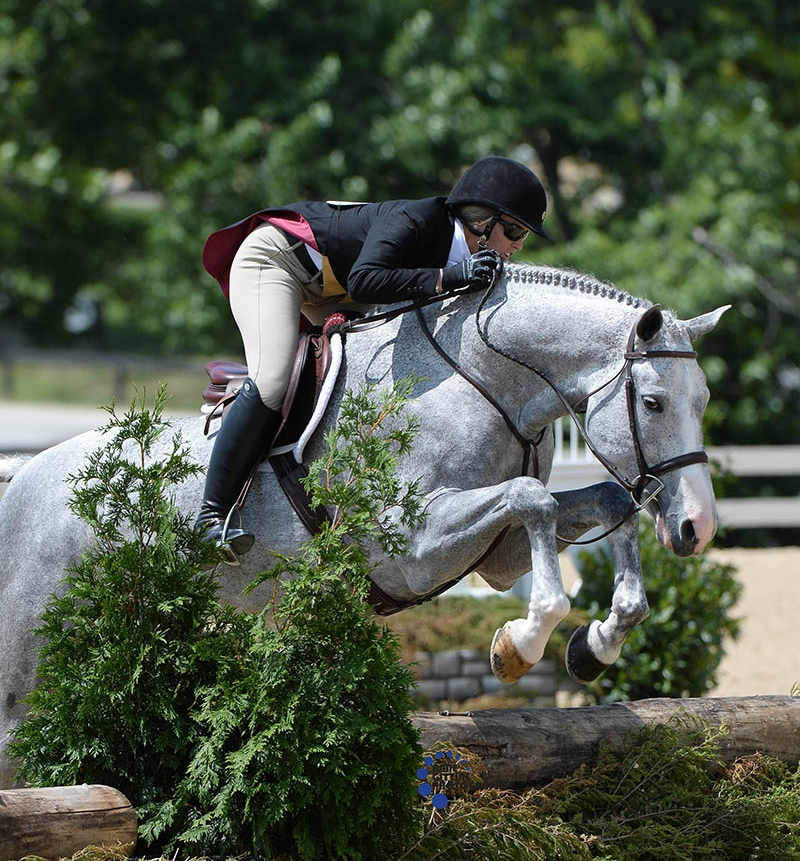 Tiffany Morrissey and Sebastian edged out Jennifer Alfano and Jersey Boy for the win of the    $20,000 USHJA National Hunter Derby   - Professionals. Photo by Anne Gittins Photography.