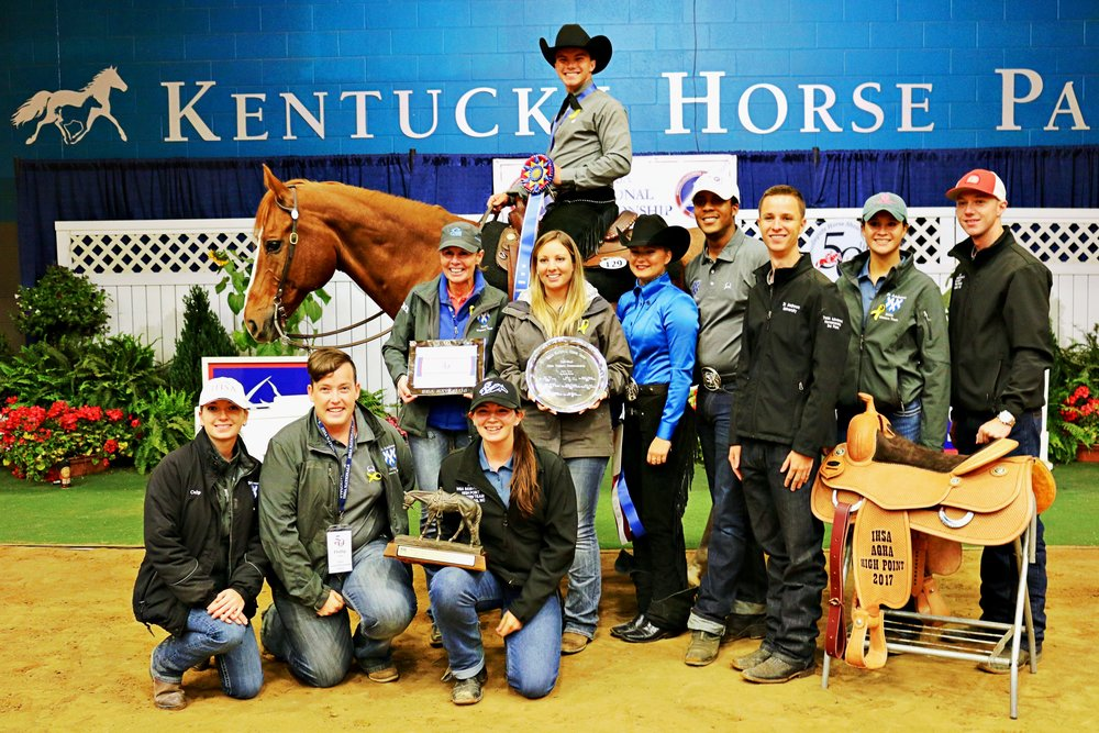 Mark Mowbray from St. Andrews University was the 2017 Open Western Horsemanship Individual Champion. His team earned the National Championship and the AQHA Cup.    Photo by Tyler Van Velsen