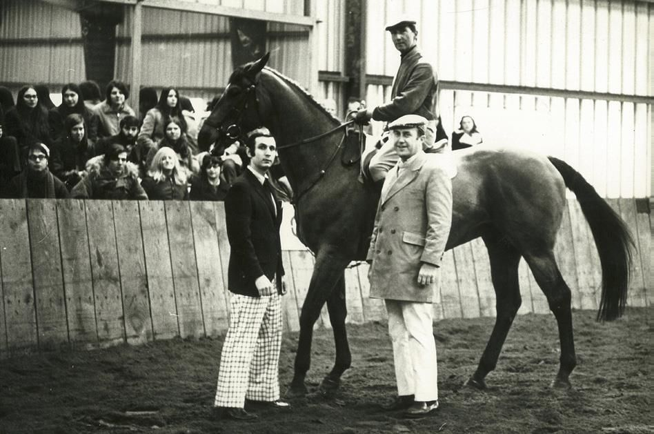 Bob Cacchione (left) and mentor Jack Fritz organized a clinic with Bert de Némethy (mounted) in 1967. Photo courtesy of IHSA and Bob Cacchione