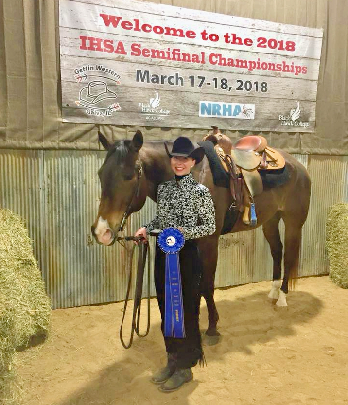 Anna Heusinger from University of Nebraska - Lincoln won first place in the   Team Advanced Horsemanship at the Semi-Finals hosted by Black Hawk College.   Photo courtesy of the Husker Equestrian Team