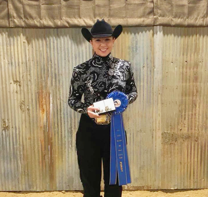 Audrey Heusinger from University of Nebraska - Lincoln won   Team Intermediate Horsemanship at the Semi-Finals hosted at Black Hawk College.   Photo courtesy of the Husker Equestrian Team