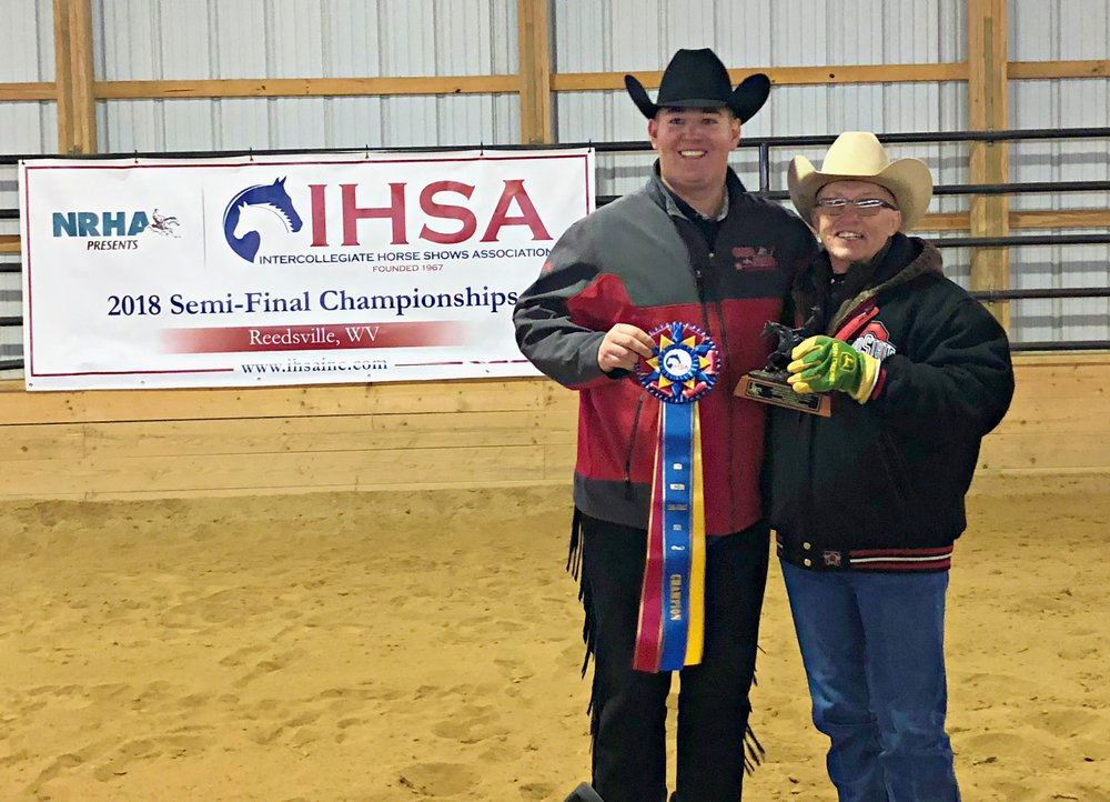 Tyler Kirby from Ohio State University won the Individual Reining at the Semi-Finals hosted by West Virginia University. Kirby is pictured with Ohio State University coach Ollie Griffith.   Photo by Teresa Fischer