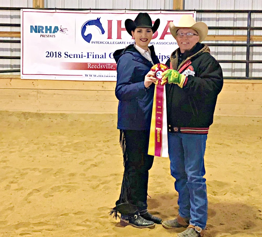 Aubrey Braham from Slippery Rock University was the reserve champion of Individual Reining at the Semi-Finals hosted at West Virginia University. She is pictured with Ollie Griffith.   Photo by Teresa Fischer