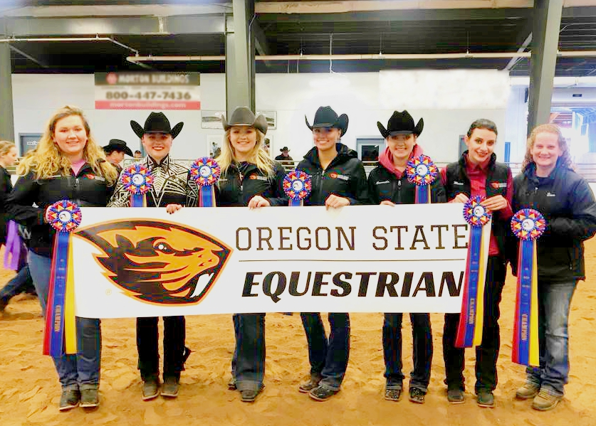 Oregon State University Equestrian Team and Coach Dawn Ross won the championship at the Semi-Finals hosted by Alfred University. Photo courtesy of Oregon State University