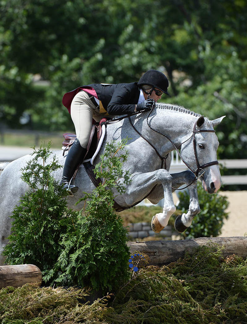 Tiffany Morrissey won the USHJA National Hunter Derby aboard Sebastian at the 2017 Country Heir I&II. Photo by Anne Gittins Photography