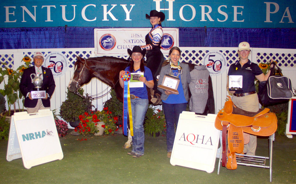 2017 AQHA High-Point Rider Brittany Abernathy with Bob Cacchione,  Northeast Oklahoma A&M University coach Amber Burrows and Cailin Caldwell from AQHA. Photo by Tyler Van Velsen