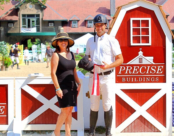 Janet Rizzo presents the award to Pablo Mejia, winner of the 2017 $5,000 Welcome Stake, sponsored by Equine Billing Services Photo by EQ Media