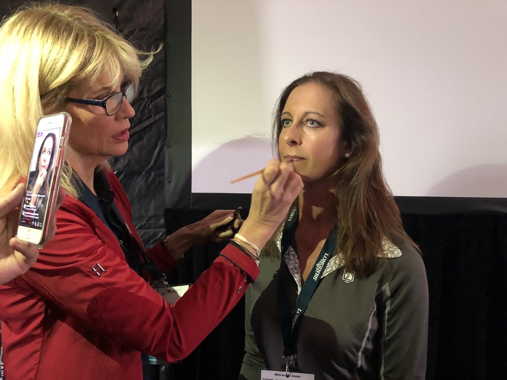 Leslie Munsell, founder of Beauty for Real cosmetics, demonstrated application technique on  Brooke USA Ambassador J.J. Tate
