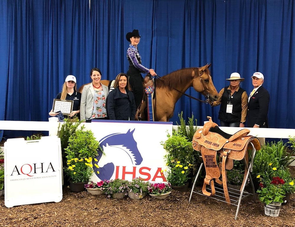 Florida State University's Ellen Waidener, 2018 Alumni Western Horsemanship champion poses with Cailin Caldwell, Megan Taylor, FSU Western coach Jean Anthony and IHSA Founder and Executive Director Bob Cacchione. Photo by AlCookPhoto.com