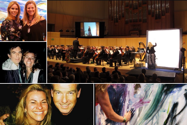Josée Nadeau with Cheryl Hines, George Harrison and Pierce Brosnan and live painting.  Photos courtesy of Josée Nadeau