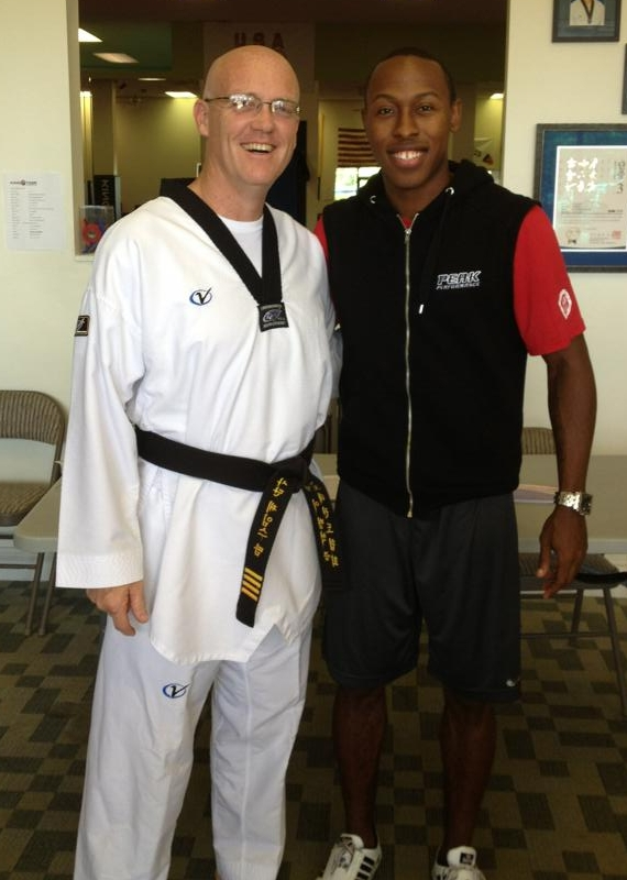 Master James Thamm with Master Terrence Jennings, 2012 Olympic Bronze Medal Winner in Taekwondo