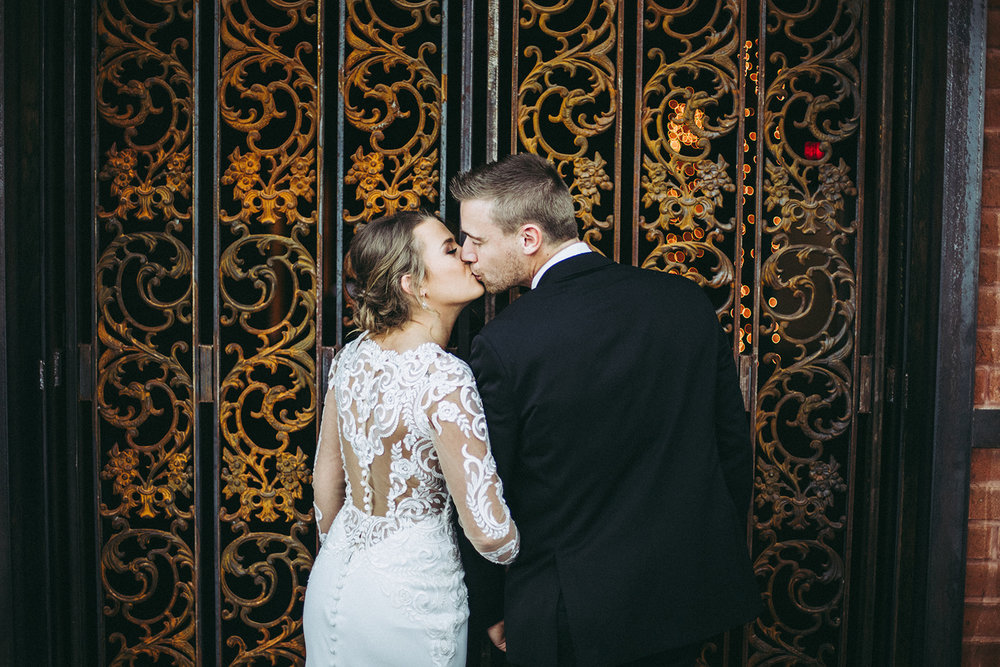 Bride and groom portrait from winter wedding at the Mill Top Banquet and Conference Center in Noblesville, Indiana