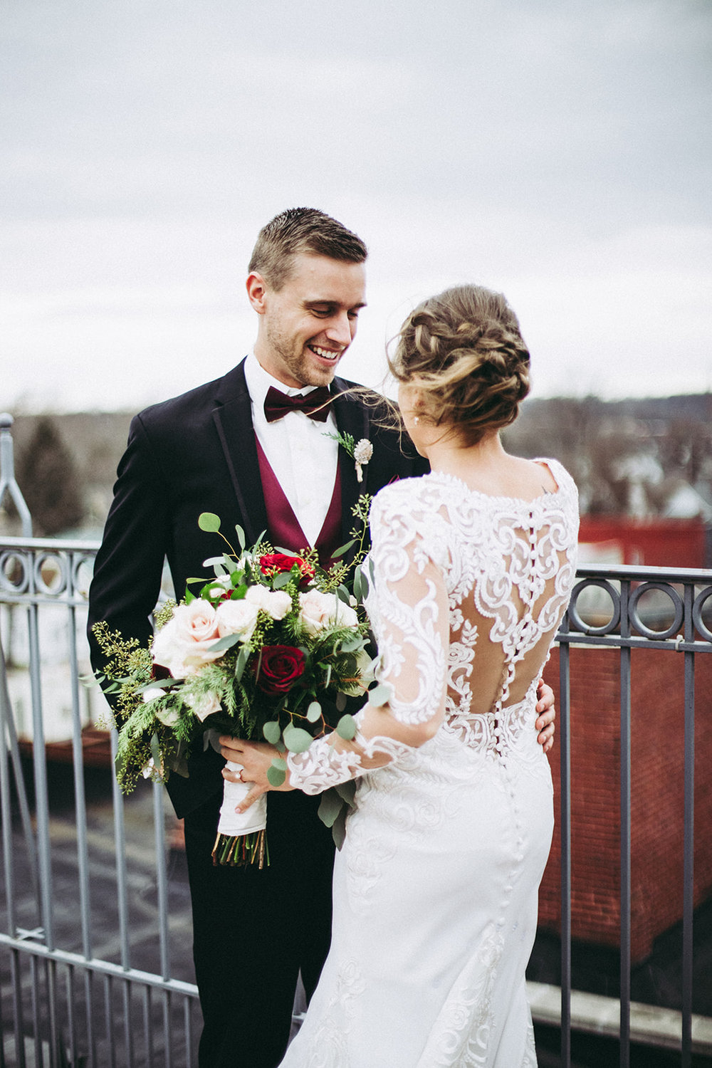 Bride and groom portrait on rooftop deck at Mill Top Banquet and Conference Center in Noblesville, Indiana