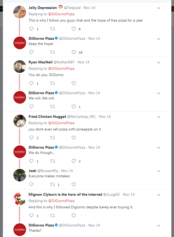 Screenshot from  DiGiorno's Twitter