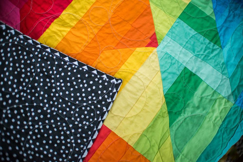 Rainbow Prism Quilt detail