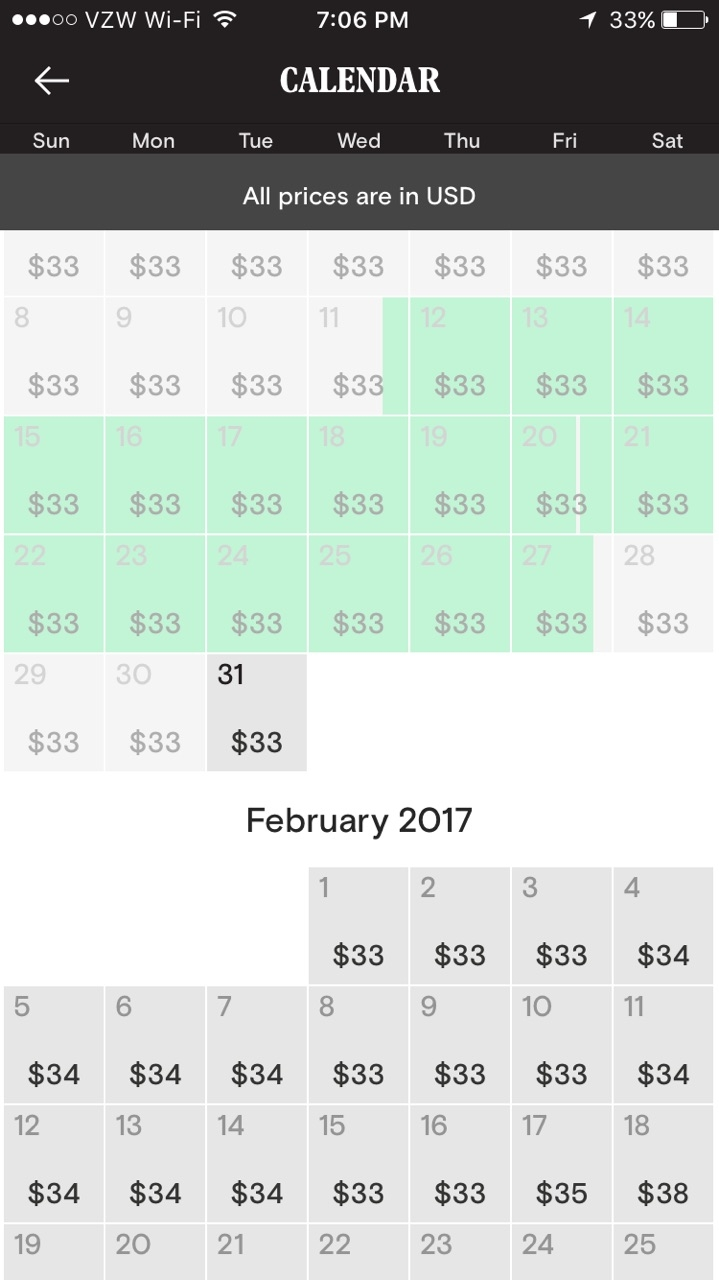 Rented time is marked in green. Days and corresponding advertised prices to potential renters.