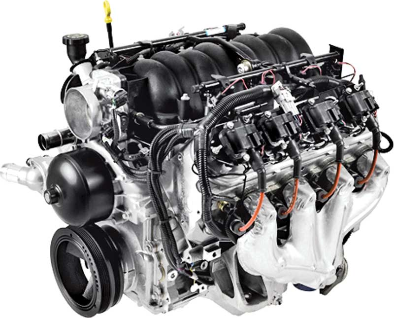 GM LS1.  Originally producing 345 horsepower and 350 lbf of torque.