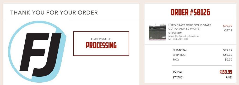 Music go round GT80V order receipt
