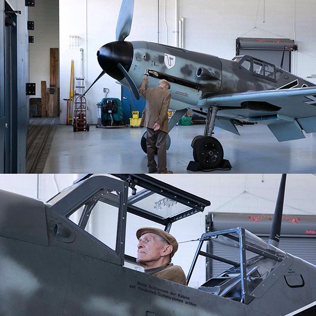 WWII Luftwaffe Pilot Mr. Hans Meyer back in the seat of the BF-109G