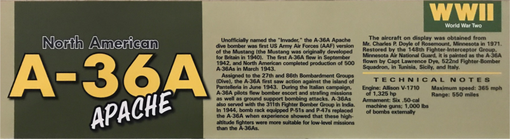 Photo of the signage that was in front of the A-36A at the National Museum of the US Air Force until early in the Fall of 2018 .