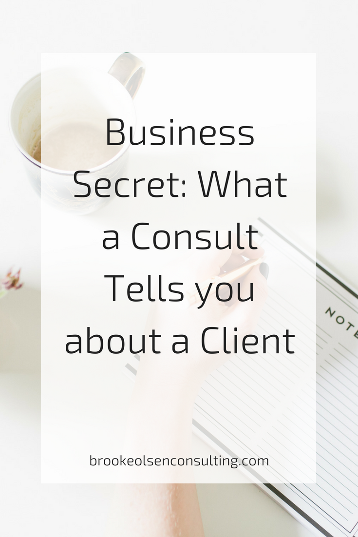 Business Secret: What a Consult Tells you about a Client | Brooke Olsen Consulting