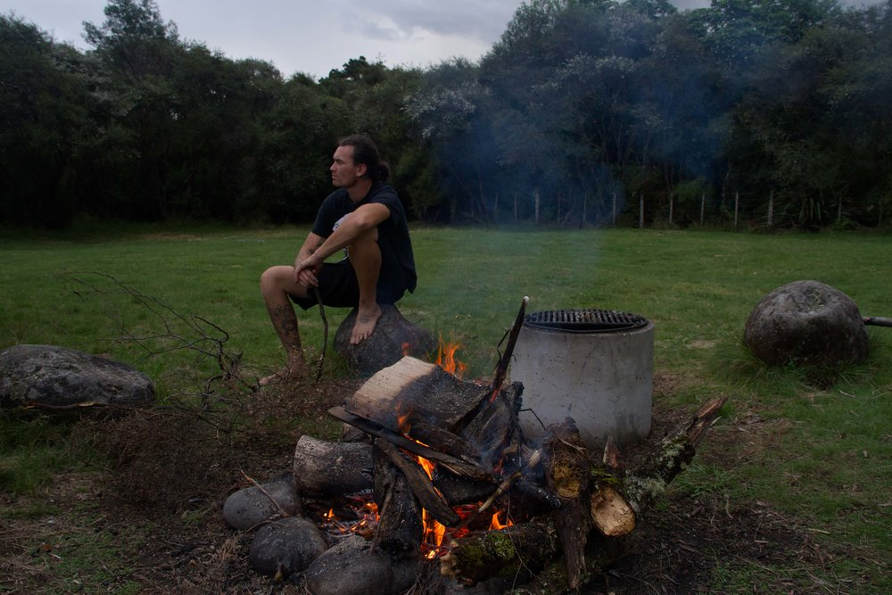 Nick by the fire, Ruatiti, 2017