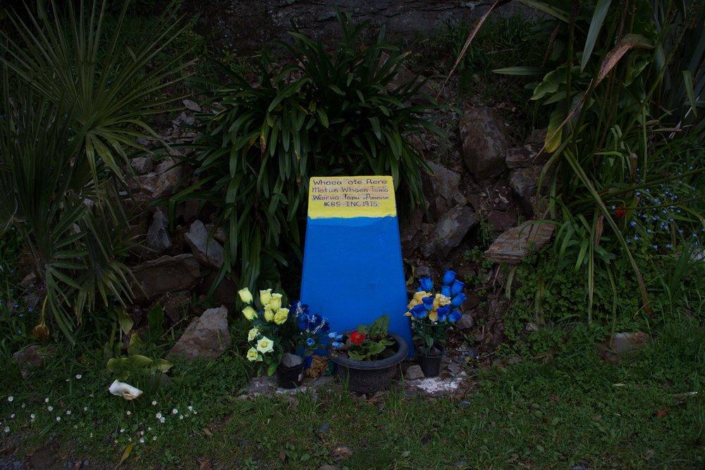Plaque, Madonna Falls, Te Kuiti, 2017