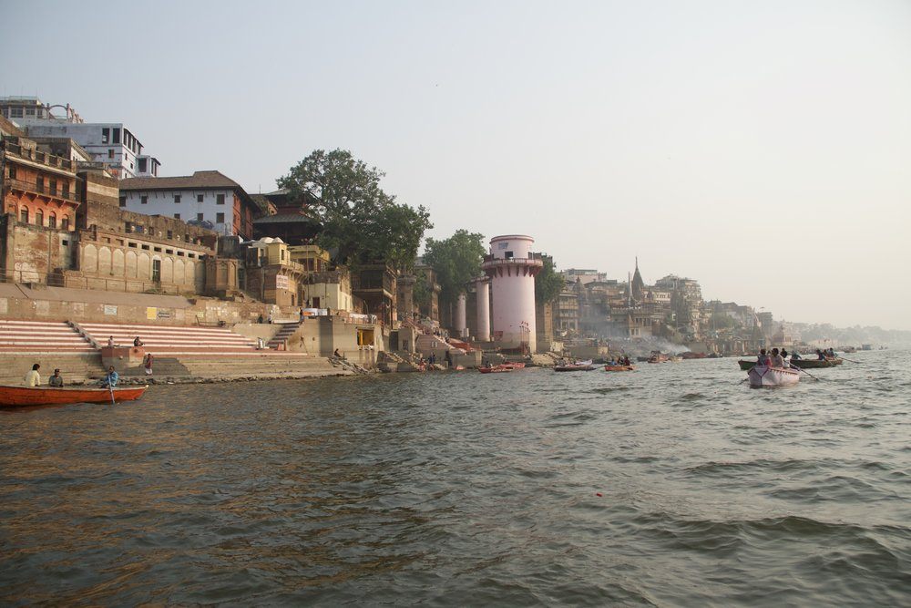Manikanika (Burning Ghats) from the river.