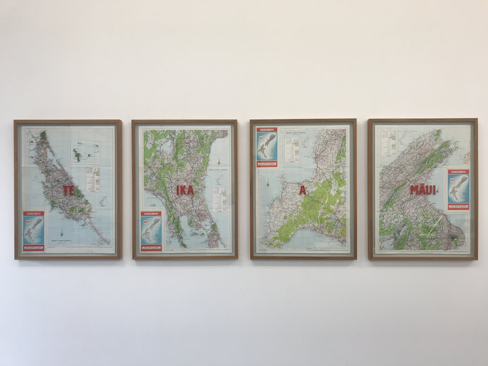 Te Ika a Māui,  2017  found maps, gouache on glass, 745 x 565mm each  framed   Available from Tim Melville