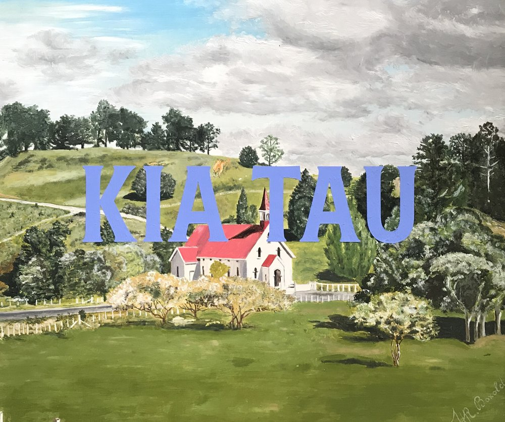 Kia Tau (Puhoi Church [of Saints Peter and Paul], with T.H.R. Boxold), 1980-2019, oil on board