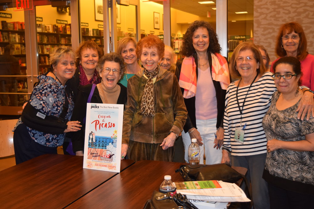 Camille Aubray with book club at Upper East Side Barnes & Noble, New York City