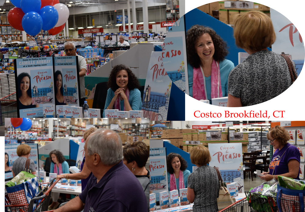 Camille Aubray at Costco in Brookfield CT for the paperback launch of COOKING FOR PICASSO