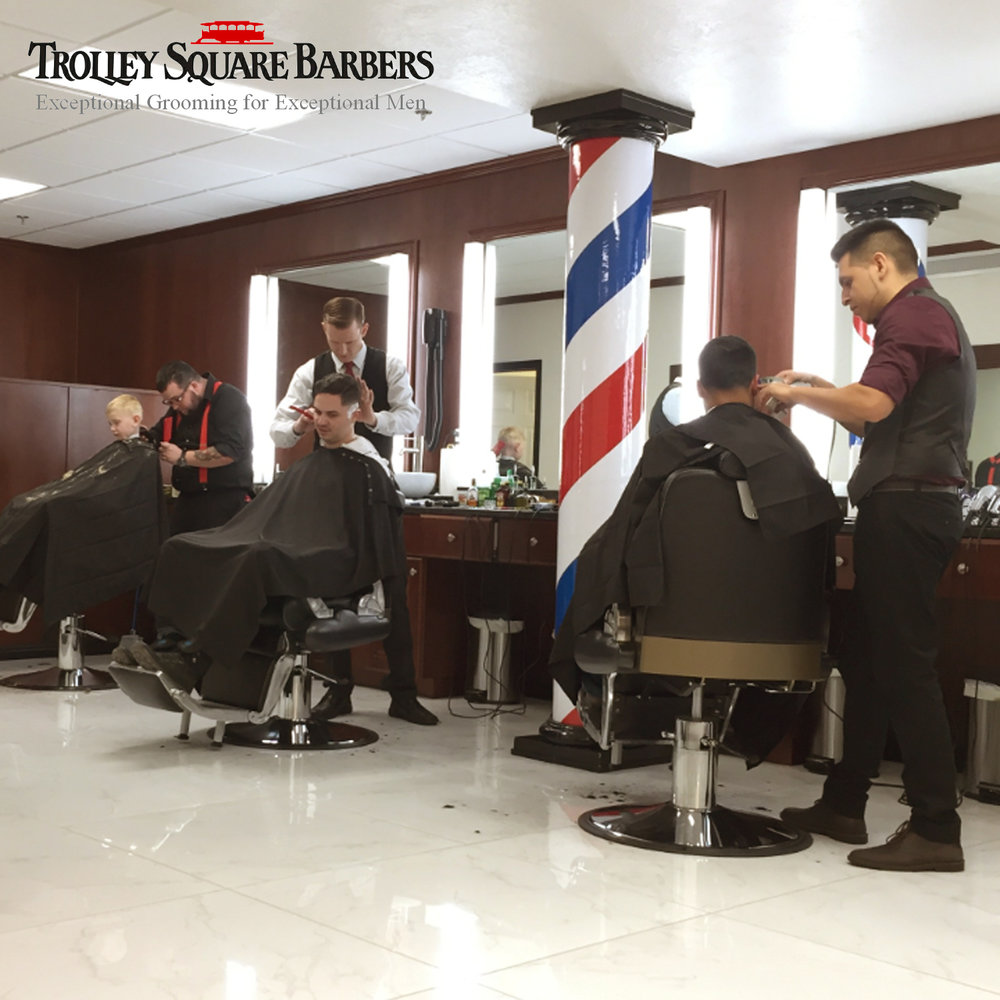 TROLLEY SQUARE BARBERS - Trolley Square Barbers is an authentic Gentlemen's Barber Shop which provides all the traditional services which have been lost in recent years of women's salons and quick-clip shops.  All our professionals are trained and experienced in classical barbering skills and are well prepared to create a memorable experience for the groom and his party.The three most frequent services for a wedding group are:Gentleman's HaircutGentleman's Haircut & Classic Face Shave comboGentleman's Haircut & Deluxe Beard Trim comboAll services come with all the extras included.Wedding Bonus:  Complimentary Deluxe Professional Shoe Shine to all members of your group as a thank you for choosing Trolley Square Barbers. WEBSITE  |  P: 801-738-1578
