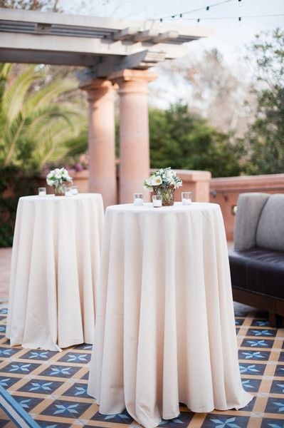 Poly Linen With The Basic Drop For A Cocktail Table