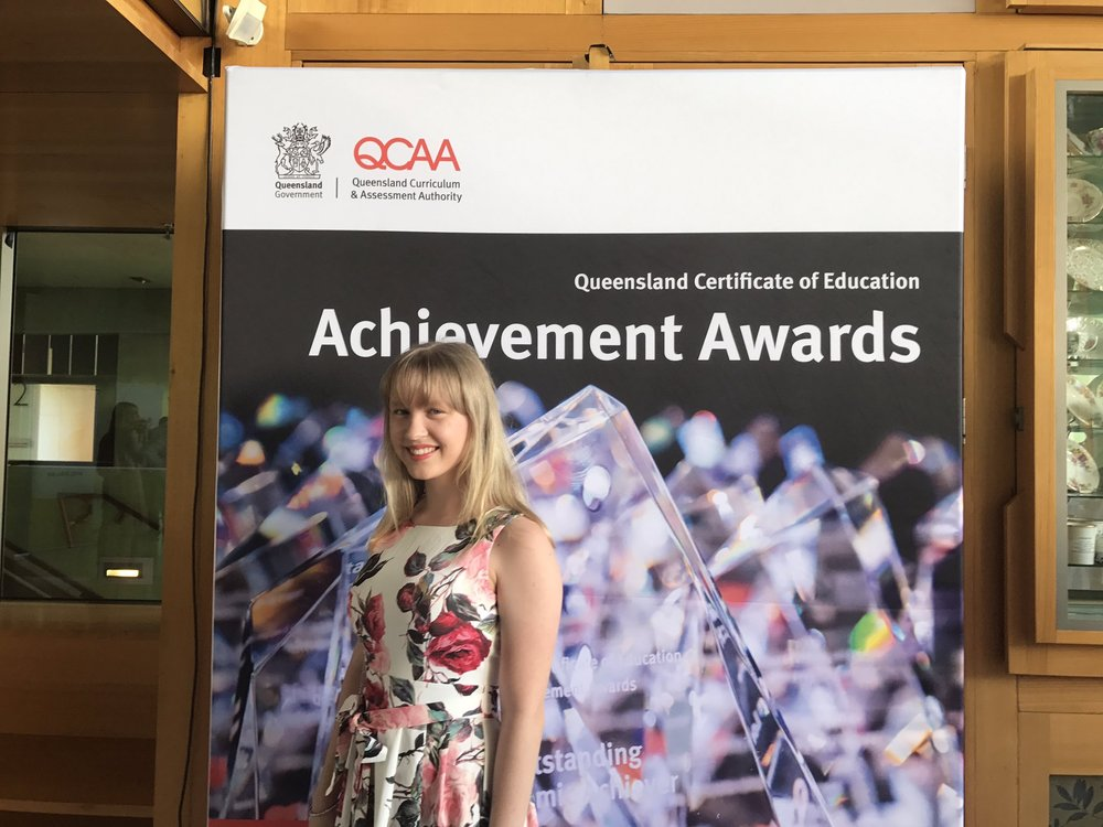 Lucinda at the QCAA Queensland Certificate of Education awards