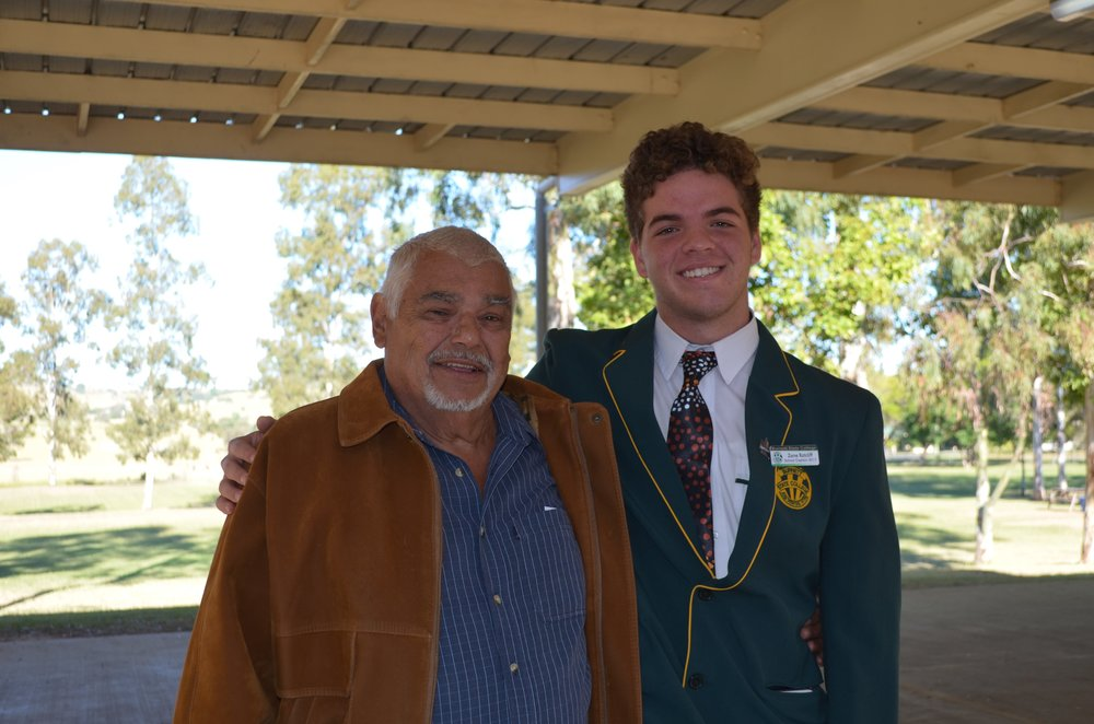 Zane Ratcliff first Traditional Custodian Captain with first Traditional Student Uncle Allan Mimi enrolled 1963.jpg