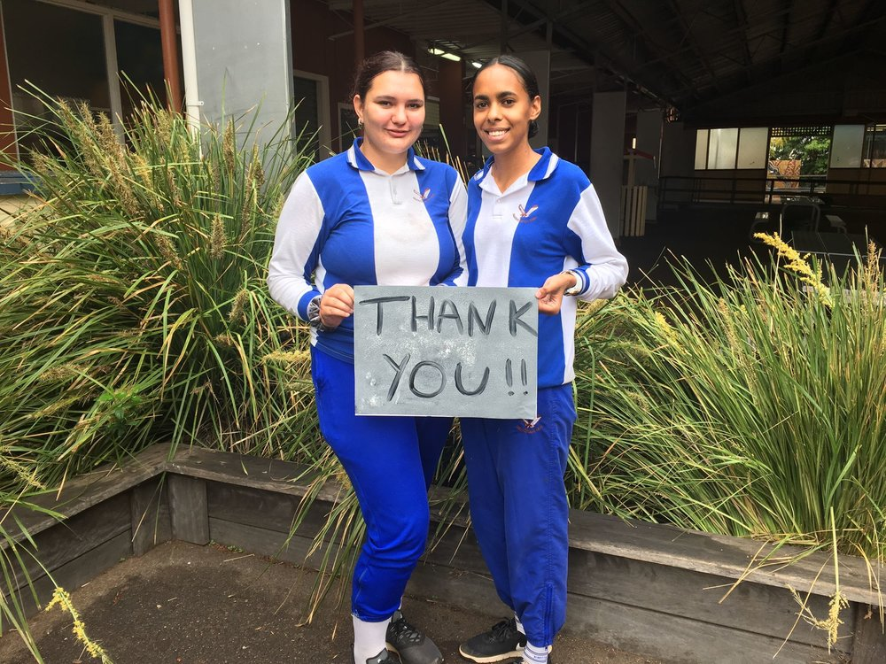 Thank you from the students of Harristown State High School