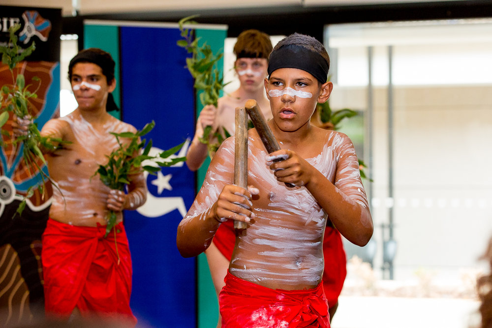 Students from Ambrose Treacy College's Aboriginal Dance Troupe