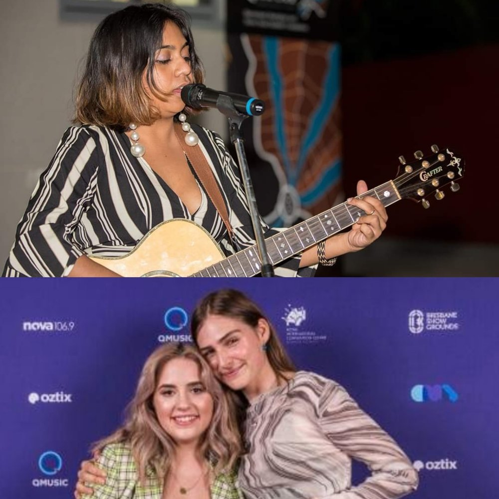Emily performing at QATSIF's 10th Anniversary and Tia with Clea at the Queensland Music Awards (photo NIT)