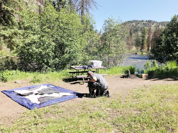 Our amazing campsite in Yellowstone at Slough Creek
