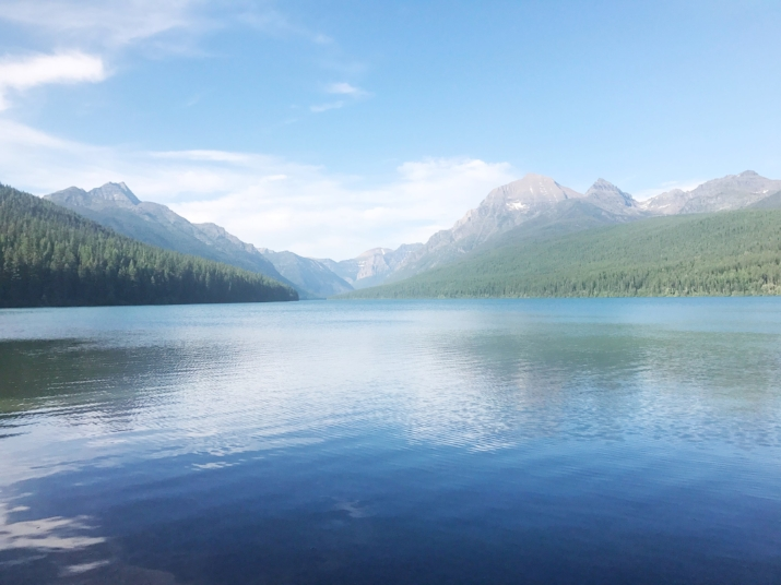 Our INCREDIBLE campsite in Glacier, Bowman Lake