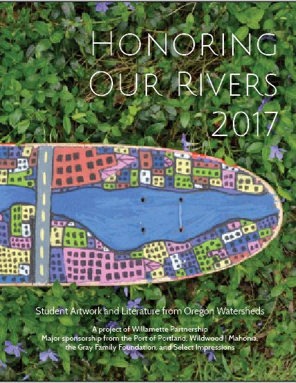 "Sneak peak of the cover of the     2017 Honoring Our Rivers Student Anthology . Cover art: ""Portland River Skate,"" Oliver Opsahl, Grade 4."