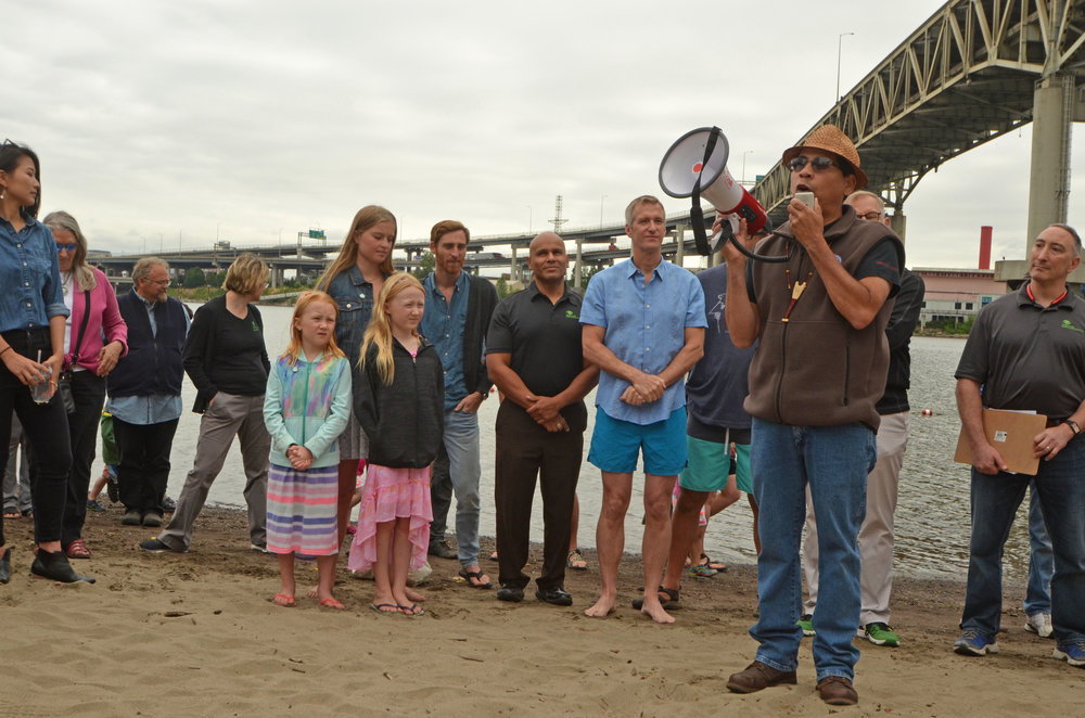 Confederated Tribes of Grand Ronde representative speaks about its traditional ties to the Willamette River and its partnership with the Poet's Beach project.