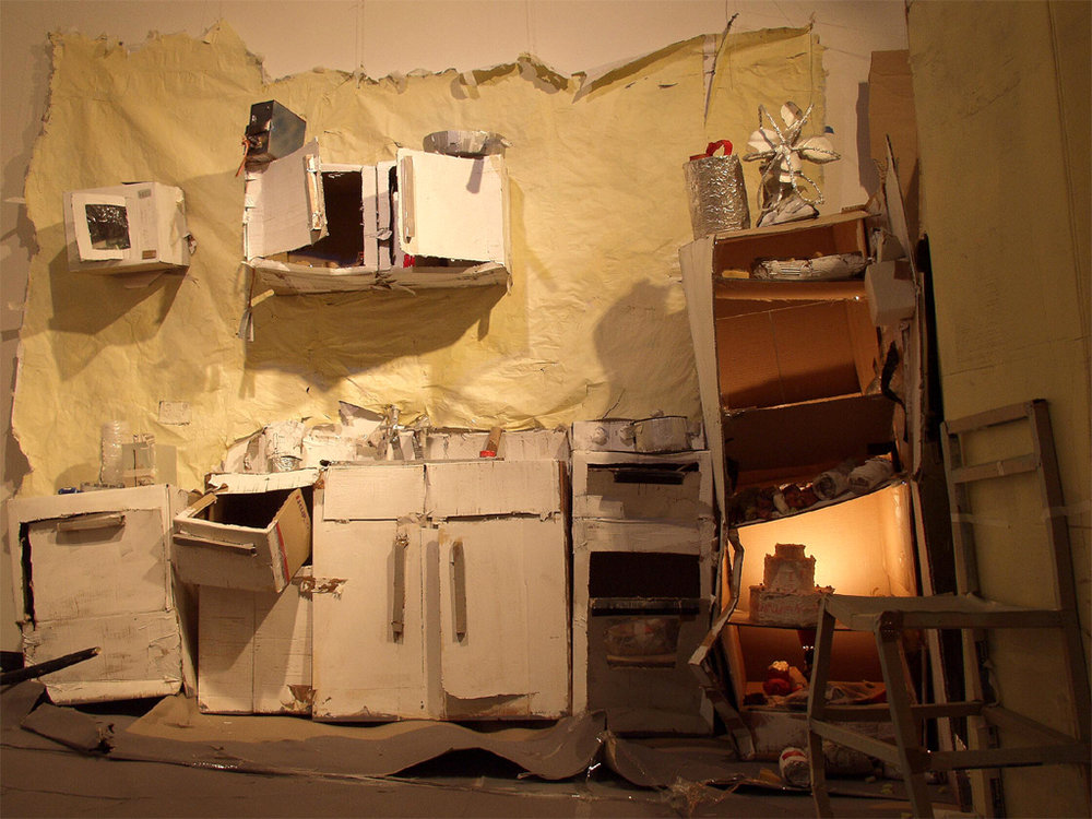 2002- minus monsters...- (kitchen)to scale cardboard scenes and props for destruction in a demolition party, mandurah performing arts centre. perth international arts festival.jpg