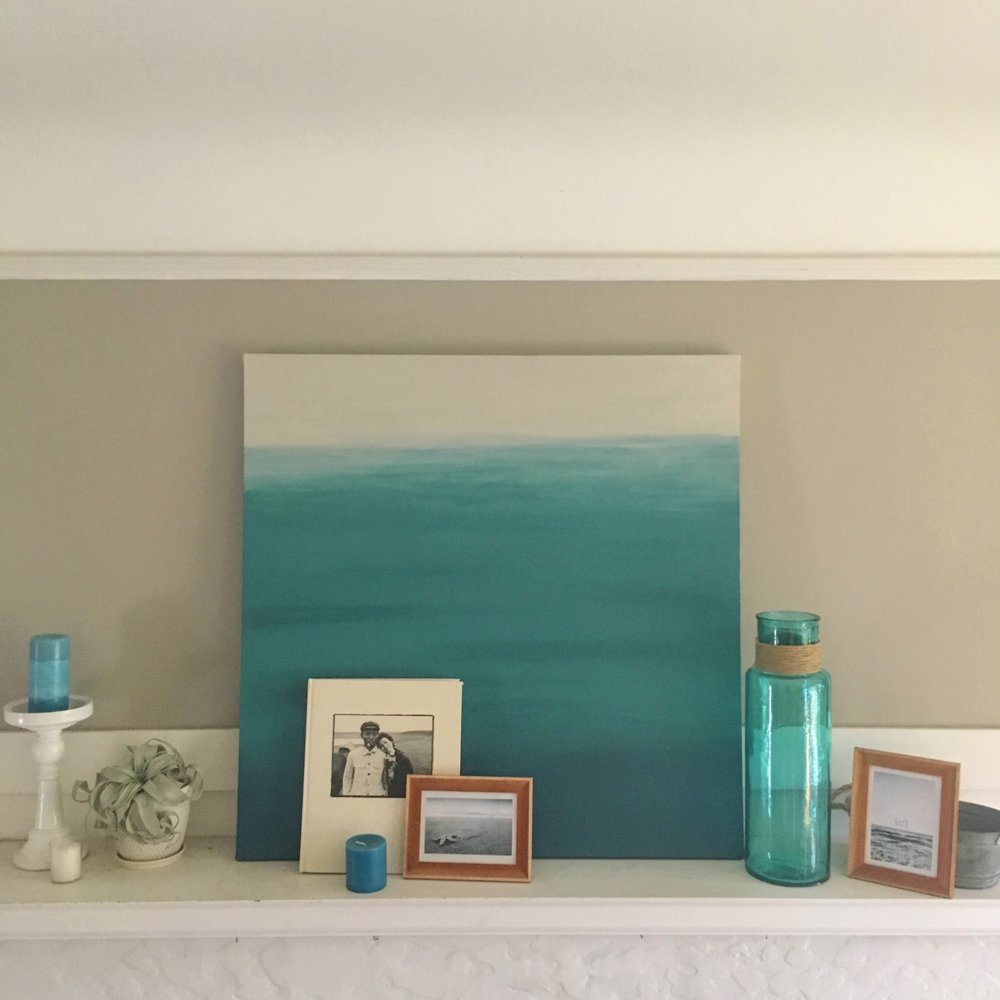 My largest ombre painting, styled with other beach themed items. Less then $50 CAD and an hour of my time to make this!