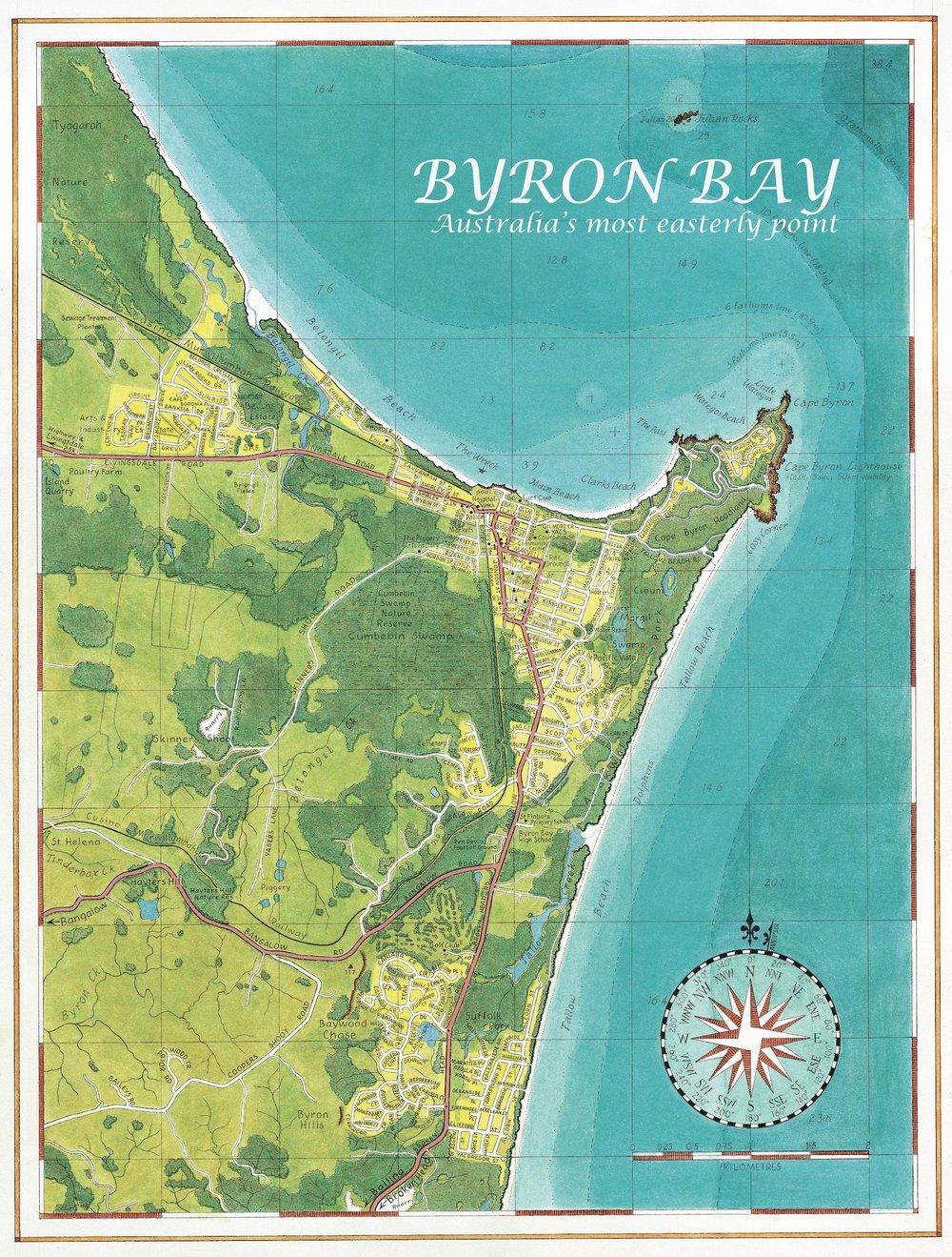 Byron Bay Map Byron Town Map — Guy's Surfari Maps Byron Bay Map