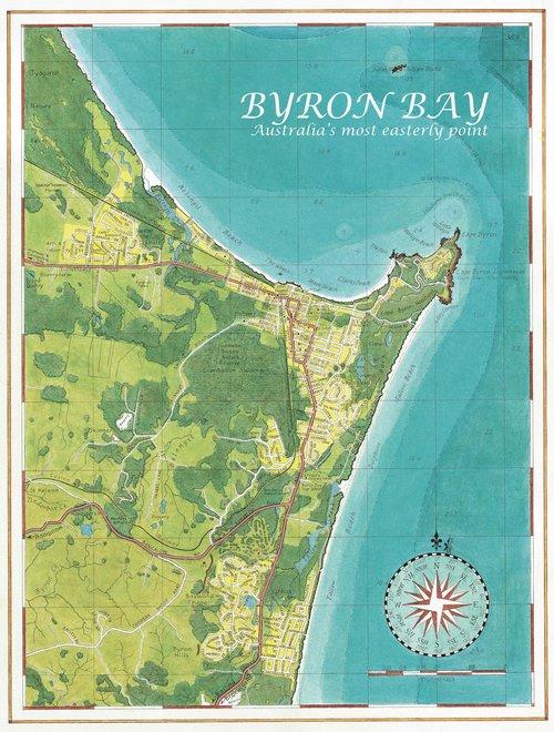 Australia Map Byron Bay.Byron Town Map Guy S Surfari Maps