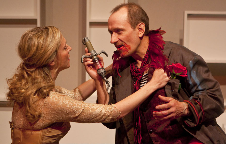 The Roses on the Rocks  by  Ellen Boscov , directed by  Richard Caliban  Featuring left-to-right:  Rachel Jones  (Broadway: Meet Me in St. Louis) and  Scott Sowers  (Broadway: Inherit the Wind and A Street Car Named Desire)