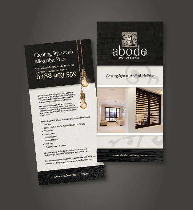 DL Brochure Design Abode Shutters & Blinds Taree NSW
