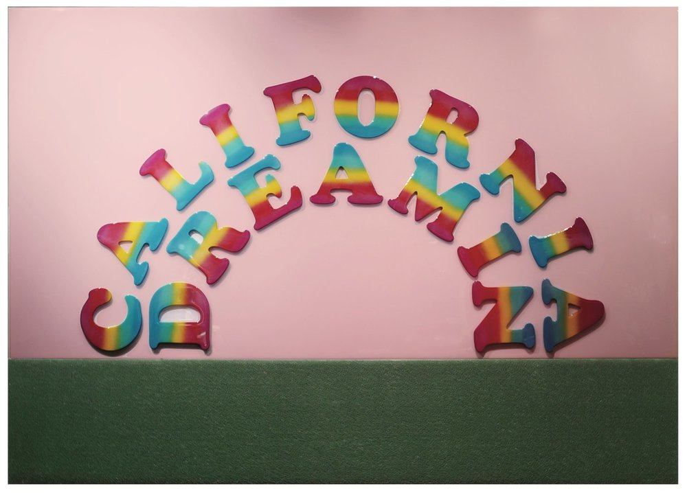 """CALIFORNIA DREAMIN 2017   wood, acrylic, tinted resin and AstroTurf on panel  62"""" x 84""""  $9600"""